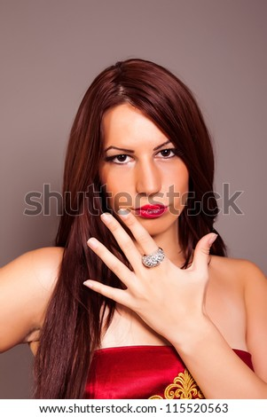 Beautiful model showing the ring - stock photo