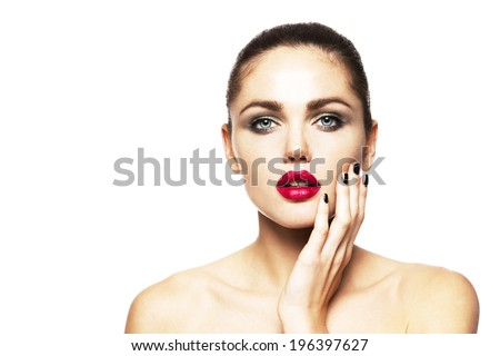 beautiful model with bright make-up isolated on white background - stock photo