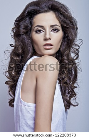 beautiful model with fashion hair style in studio - stock photo