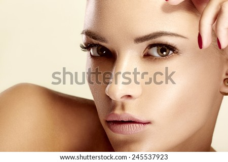 Beautiful model with natural make-up - stock photo