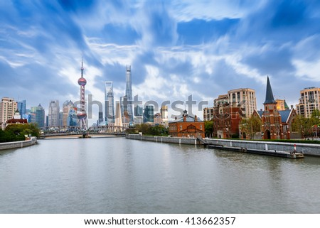 Beautiful modern city at dusk in Shanghai, China - stock photo