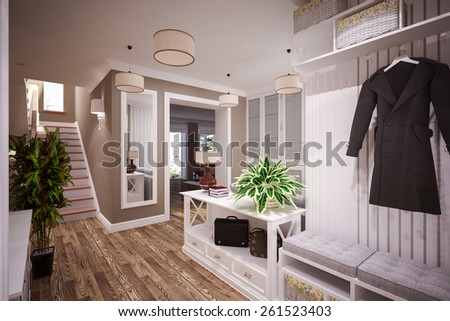 Beautiful modern Foyer interior in classic style. 3D illustration - stock photo