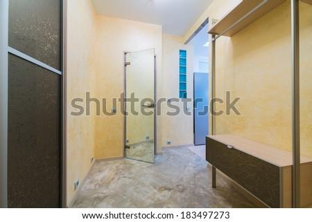 Beautiful modern hallway with mirrored door - stock photo