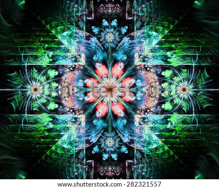 Beautiful modern high resolution abstract fractal background with a detailed flower pattern and detailed crystal shaped geometric decoration, all in bright green,blue,pink - stock photo