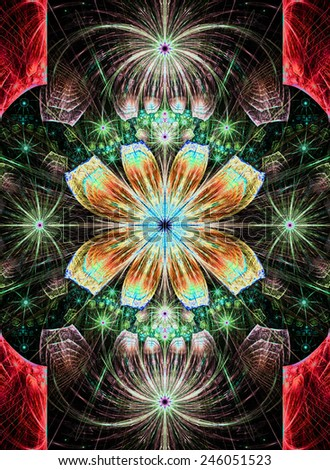 Beautiful modern high resolution abstract fractal background with a detailed flower pattern with crystal shaped geometric leaves in bright glowing and shining red,green,orange,blue colors - stock photo