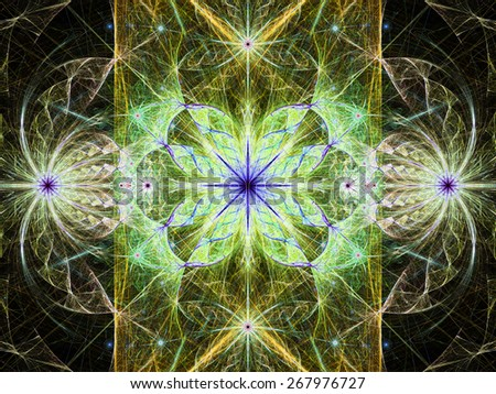 Beautiful modern high resolution abstract fractal background with a detailed flower pattern with crystal shaped twisted geometric leaves, all in bright vivid glowing yellow,green,purple - stock photo