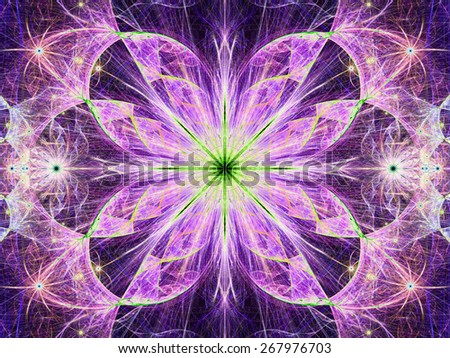 Beautiful modern high resolution abstract fractal background with a detailed large central flower with crystal shaped twisted geometric leaves, all in bright vivid glowing pink,green,yellow - stock photo