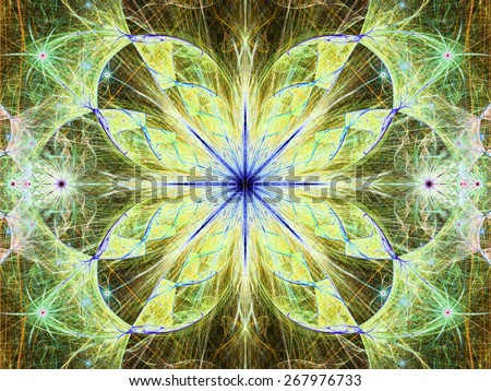 Beautiful modern high resolution abstract fractal background with a detailed large central flower with crystal shaped twisted geometric leaves, all in bright vivid glowing green,yellow,blue - stock photo