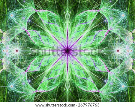 Beautiful modern high resolution abstract fractal background with a detailed large central flower with crystal shaped twisted geometric leaves, all in bright vivid glowing pink,green,blue - stock photo