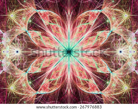 Beautiful modern high resolution abstract fractal background with a detailed large central flower with crystal shaped twisted geometric leaves, all in bright vivid glowing yellow,red,cyan - stock photo