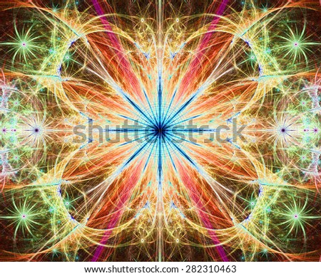 Beautiful modern high resolution abstract fractal background with a detailed large central flower with crystal shaped twisted geometric leaves, all in bright vivid glowing red,yellow,green,blue - stock photo