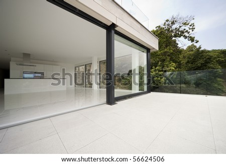 beautiful modern house - stock photo