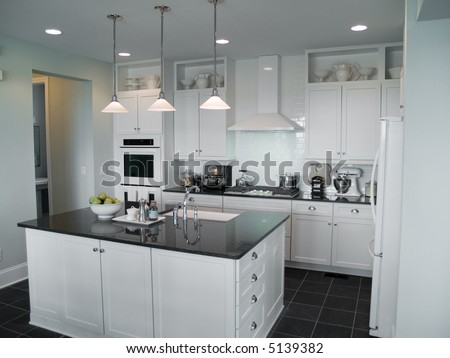 beautiful modern kitchen with center island - stock photo