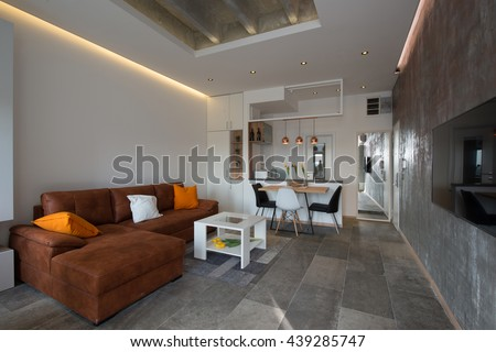 Beautiful modern living room interior - stock photo