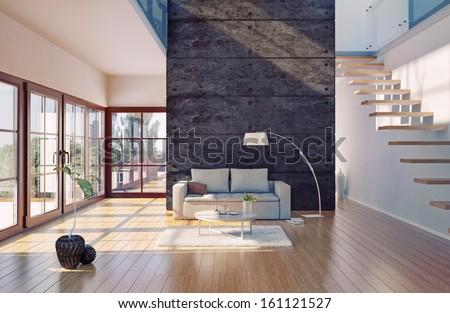 Beautiful modern living room interior (cg illustration) - stock photo