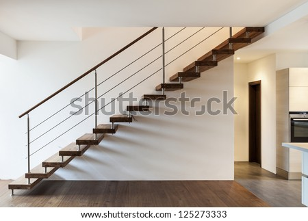 Beautiful modern loft, staircase view - stock photo