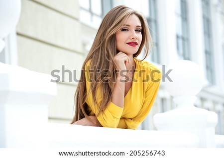 Beautiful modern woman with long hair.  - stock photo