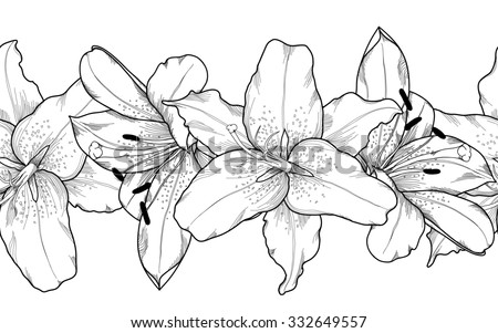 Beautiful monochrome, black and white seamless horizontal frame element of gray lily  flowers. Hand-drawn contour lines and strokes. - stock photo