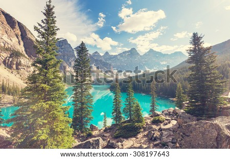 Beautiful Moraine lake in Banff National park,Canada - stock photo
