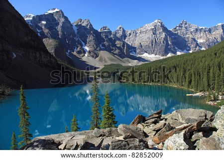 Beautiful Moraine Lake in Banff National Park, in Alberta, Canada - stock photo