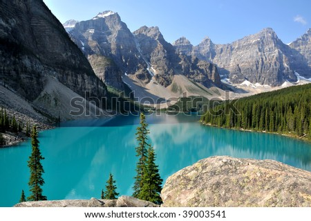 Beautiful Moraine Lake in Summer Horizontal - stock photo