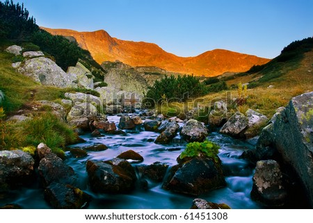 beautiful morning at Rila mountain - stock photo