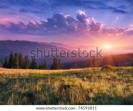 Beautiful morning landscape in the mountains - stock photo