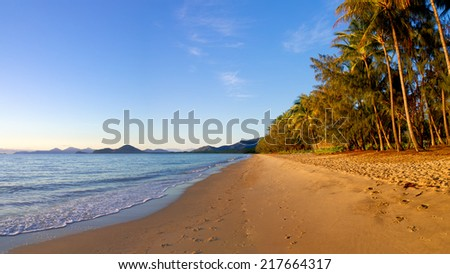 beautiful morning looking over the beach at palm cove Queensland Australia - stock photo