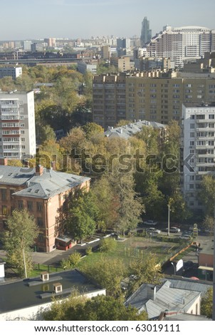 Beautiful morning view upon huge city Moscow Sokolniki - stock photo