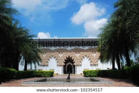 Beautiful Moroccan Architecture Inner Garden in Putrajaya, Malaysia - stock photo