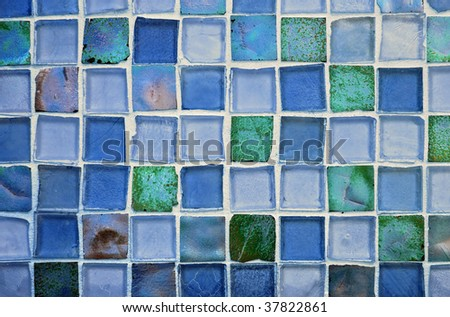 beautiful mosaic glass tile background, blue and green tones - stock photo