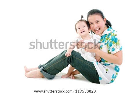 beautiful mother and baby - stock photo
