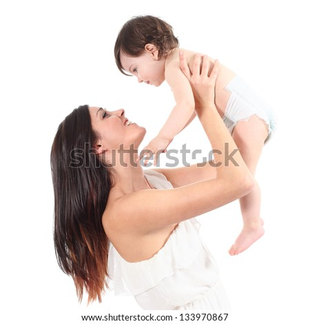 Beautiful mother raising her daughter looking with tenderness isolated on a white background - stock photo