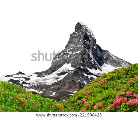 Beautiful mount Matterhorn on white background  - stock photo