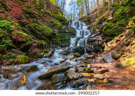 beautiful mountain canyon waterfall, carpathian ukraine - stock photo
