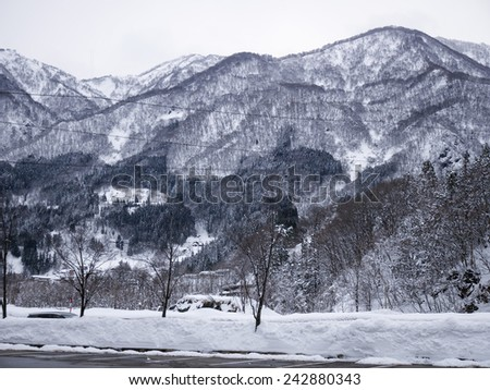 Beautiful mountain covered with white snow, Nagano, Japan. - stock photo
