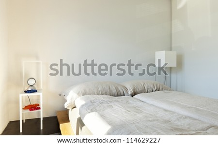 beautiful mountain home, bedroom - stock photo