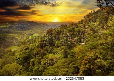 beautiful mountain landscape and sunrise - stock photo