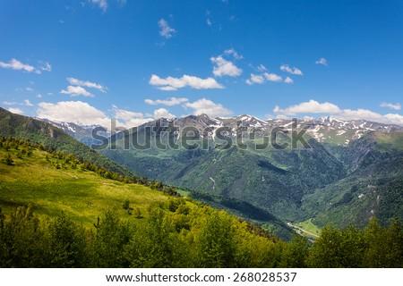 Beautiful mountain landscape, Caucasus, Russia. View of the Big Caucasian ridge - stock photo
