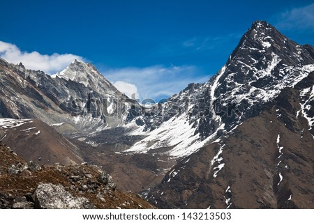 Beautiful mountain landscape in a sunny day. Trek to Everest base camp. Nepal - stock photo