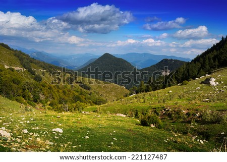 Beautiful mountain landscape in cloudy summer day. Pyrenees - stock photo