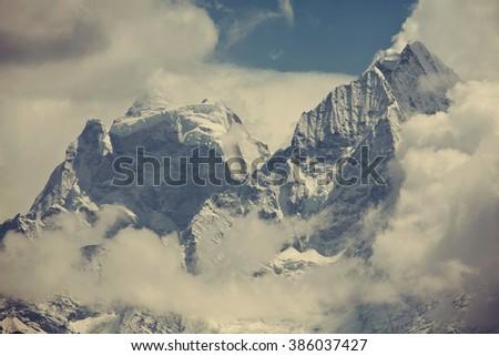 Beautiful mountain landscape in Sagarmatha region,Himalaya - stock photo