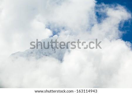 Beautiful mountain landscape looking at beauty view. Mount Ama Dablam in Himalaya Mountains, Nepal. Everest Sagarmatha National Park - stock photo