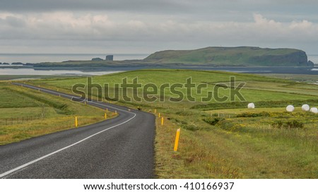 Beautiful mountain landscape near the Ring Road in summer of Iceland - stock photo