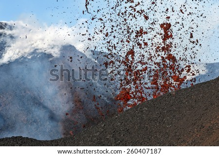 Beautiful mountain landscape of Kamchatka: eruption Tolbachik Volcano. Russia, Far East, Kamchatka Peninsula. - stock photo