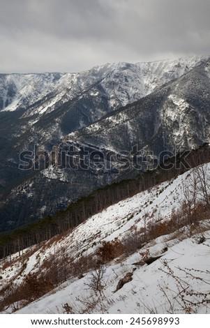 Beautiful mountain landscape. Ukraine, Crimea, Ridge Iograf - stock photo