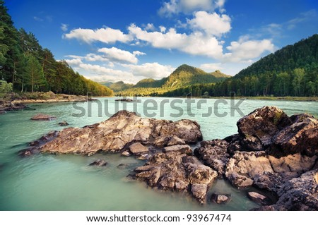 Beautiful mountain landscape with river. Altai, Russia - stock photo
