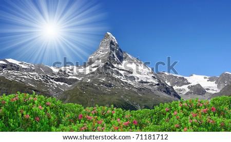 Beautiful mountain Matterhorn - Swiss Alps - stock photo
