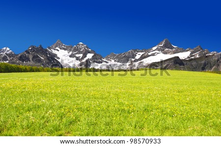 Beautiful mountain Ober Gabelhorn and Zinalrothorn - Swiss alps - stock photo