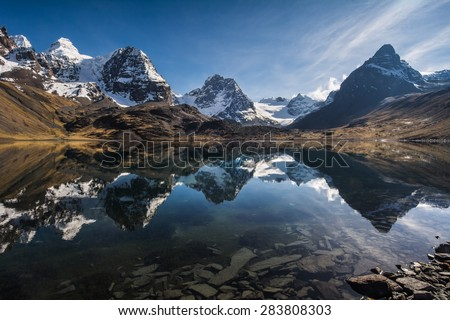 Beautiful mountain reflection, Nevado Condoriri peak, Bolivia, South America - stock photo
